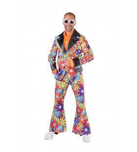 Vol Met Hippie Symbolen Jaren 60 Man Kostuum