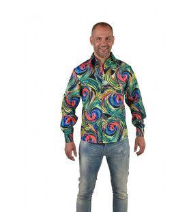 Psychedelische Draaikolken Hemd Groen Man