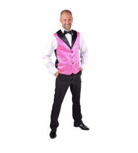 Roze Show Vest Pailletten Man