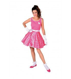 Roze Rock And Roll Boogie Woogie Vrouw Kostuum