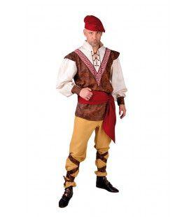 Onderdanige Middeleeuwse Boer Man Kostuum