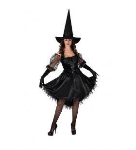 Bevallige Bella Heks Halloween Vrouw Kostuum