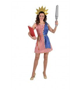 Vrijheidsbeeld Amerikaanse Vlag Vrouw Kostuum