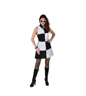 Jaren 60 Finish Vlag Mod Girl Vrouw Kostuum