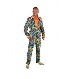 Groen Funky Cirkels Aquarel Man Kostuum