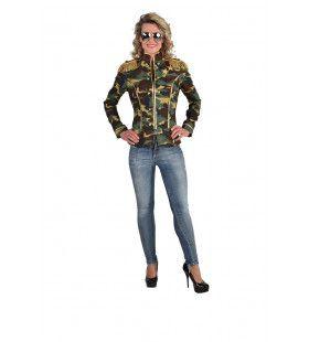 Camouflage Jas Gouden Epauletten Generaal Vrouw