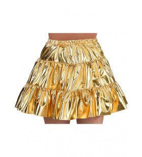 Gouden Folie Rok Glitter Disco Vrouw