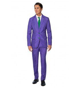 The Joker Haha Paars Gestreept Man Kostuum