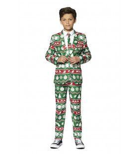 Groene Kerst Symbolen Sterren Ballen Bomen Jongen Kostuum