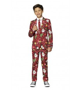 Rood Fonkelend Kerstmis Symbolen Jongen Kostuum