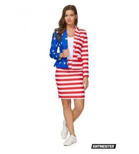 America First Vlag Verenigde Staten USA Vrouw Kostuum