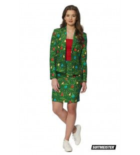 Groen Kerstbomen Versieringen Vrouw Kostuum