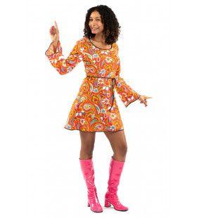 Oranje Kort Jaren 70 Hippie Soul Disco 60s Bloemen Pretty Paisley Vrouw Kostuum