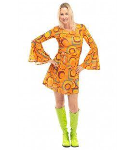 Jaren 70 Hippie Soul Disco 60s Agent Orange Jurk Vrouw