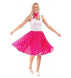 Roze Jaren 50 Polkadot Rock And Roll Swing Vrouw Kostuum