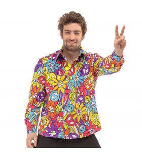 Jaren 60 Hippie Flowerpower Festival Smiley Peace Shirt Man