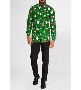 Groen Santaboss Kerstmis Overhemd Lange Mouwen Man