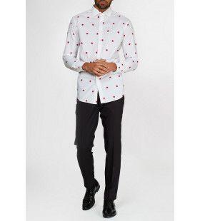 Subtiele Kerstcadeaus Overhemd Wit Met Lange Mouwen Man