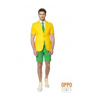 Summer Festival Flashy Green And Gold Opposuit Man Kostuum