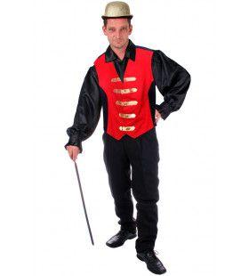 Fanfare-Gilet Rood / Zwart Man Kostuum