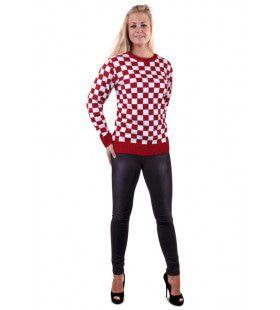 Gebreide Sweater Rood Wit Geblokt Brabant