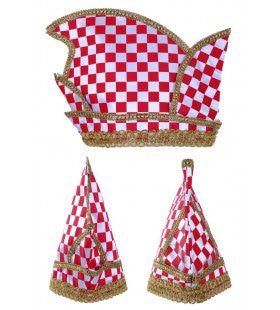 Prinsenmuts Rood Wit Geblokt Met Gouden Draad Maat 63