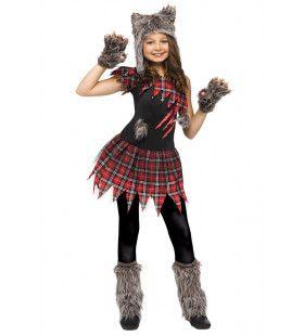 Gruwelijk Grommende Grijze Wolf Meisje Kostuum