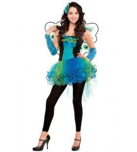 Pauw Met Pauwenogen Vleugels Meisje Kostuum