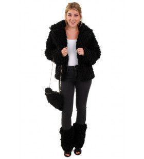 Zwarte Bontjas Lammy Siberische Toendra Vrouw