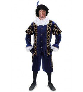 Assistent Van Sinterklaas Piet Blauw Zwart Kostuum