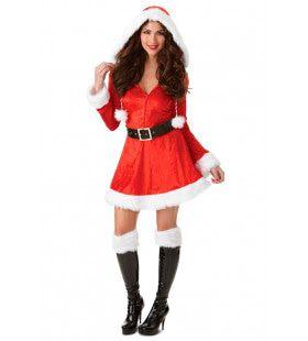 Laat Het Sneeuwen Rood Witte Kerst Vrouw Kostuum