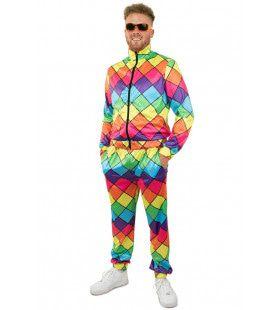 Jaren 80 Trainingspak Multicolor Ruit Heren Man Kostuum