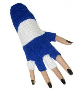 Vingerloze Handschoenen Blauw / Wit