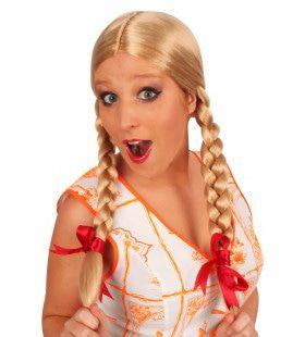 Pruik Greetje Blond Met Vlechten En Strikjes