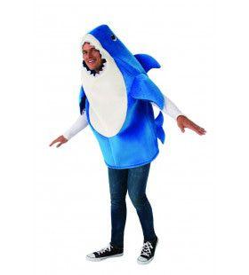 Volwassen Blauwe Baby Shark Daddy Met Geluid Kostuum