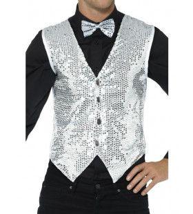 Glinsterend Zilveren Pailletten Vest Man