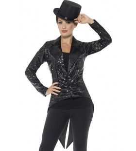 Glinsterend Zwarte Pandjesjas Vrouw Kostuum
