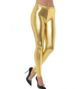 Gouden Metallic Disco Legging Vrouw