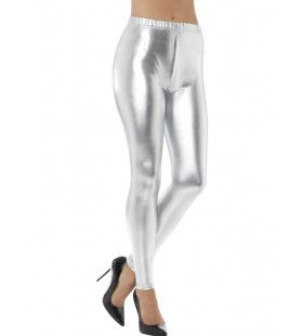 Zilveren Metallic Disco Legging Vrouw