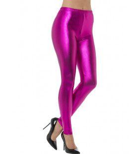 Metallic Disco Legging Paars Vrouw