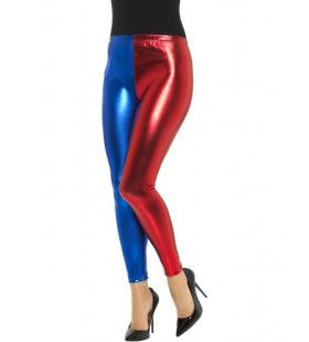 Metallic Harlekijn Cosplay Legging Blauw Rood Vrouw