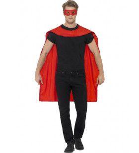 Rode Cape En Oogmasker Superheld