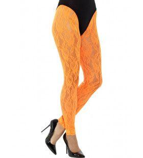 Kanten Jaren 80 Legging Oranje