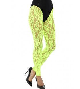 Kanten Jaren 80 Legging Neon Groen