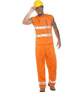 Ruige Mijnwerker Wegwerker Man Kostuum