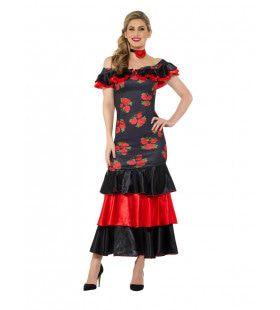Bloemrijk Flamenco Danseres Carmen Vrouw Kostuum
