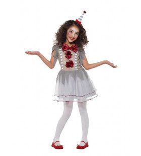 Grappige Grijze Grollen Clown Meisje Kostuum