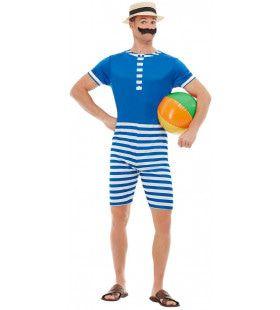 Badpak Jaren 20 Noordzeestrand Man Kostuum