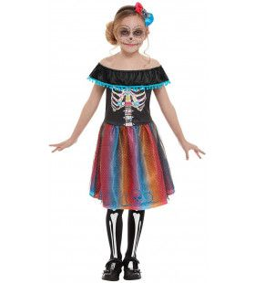Zwierig Mexicaans Dias De Los Muertos Meisje Kostuum