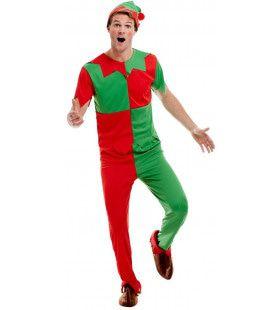Vrolijke Rood Groene Elf Kerst Man Kostuum